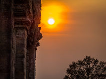 Sunset over ruins in Ta Keo, Angkor Wat Royalty Free Stock Image