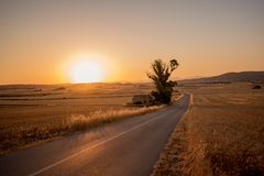 Sunset over rural farmland Stock Photos