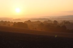 Sunset over rural landscape Royalty Free Stock Photography