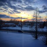 Sunset Over Rural Ohio Town Royalty Free Stock Photos