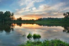 Sunset over russian town Zvenigorod. Stock Photography