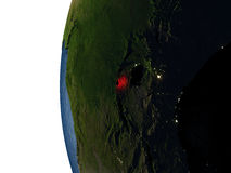 Sunset over Rwanda from space Stock Images