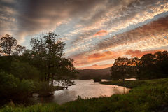 Sunset over Rydal Water in Lake District Royalty Free Stock Photo