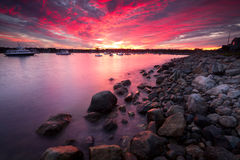 Sunset over Rye Harbor Royalty Free Stock Photo