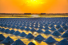 Sunset over the salt field in thailand Royalty Free Stock Images