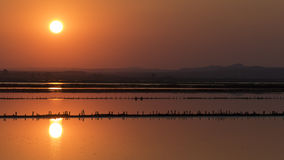 Sunset over the salt lake Royalty Free Stock Photography
