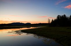 Sunset over saltwater marsh Royalty Free Stock Images