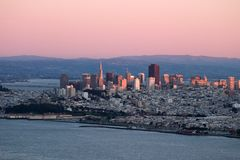 Sunset over San Francisco with pink colors. royalty free stock image