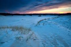 Sunset over sand dunes in Gelderland. Netherlands Royalty Free Stock Images