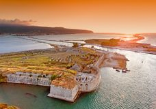 Sunset over Santa Maura - Agia Mavra Castle near Lefkada Town in. Lefkada (Lefkas) Island Greece royalty free stock photography