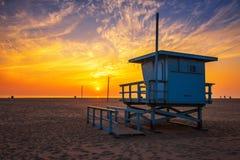 Sunset over Santa Monica beach with lifeguard observation tower stock photos