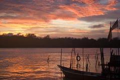 Sunset over Santubong River, Borneo, Malaysia Royalty Free Stock Photos