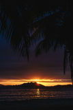 Sunset over SanYa with coconut tree framing the sunset Royalty Free Stock Photos