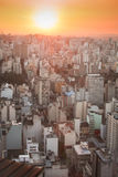 Sunset over Sao Paulo. Tower blocks in the city of Sao Paulo as the sun sets Stock Photo