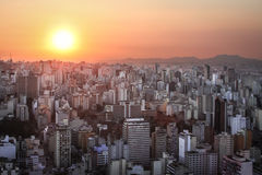 Sunset over Sao Paulo. Tower blocks in the city of Sao Paulo as the sun sets Royalty Free Stock Photos