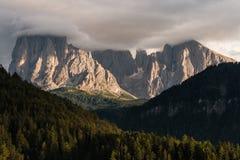 Sunset over Sassolungo group in Dolomites Stock Image