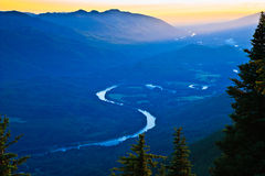 Sunset over Sauk and Skagit River Basin Royalty Free Stock Photo