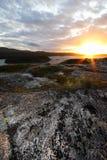 Sunset over Scottish landscape stock photos
