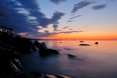 Sunset over the sea. In Crimea royalty free stock photography