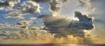Sunset over sea. A cloudly sunset over mediterraneo sea, camogli, liguria, italy royalty free stock photography