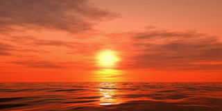 Sunset over the sea. 3d image render sunset over the sea Stock Photo