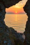 Sunset over the Sea of Azov on Generals beach. Karalar regional landscape park in Crimea. Stock Photography