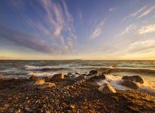 Sunset over the sea beach. Baltic Sea,Poland royalty free stock photos