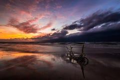 Sunset over the sea beach. Baltic Sea,Poland royalty free stock image
