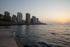 Sunset over the sea, Beirut. Sunset over the sea and Beirut city Stock Photography