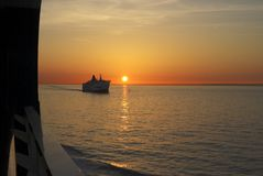 Sunset over sea at Calais. France Stock Images
