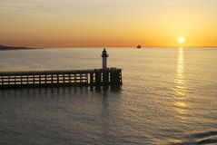 Sunset over sea at Calais. France Royalty Free Stock Images