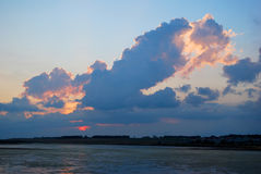 Sunset over the sea. With colorful clouds royalty free stock image