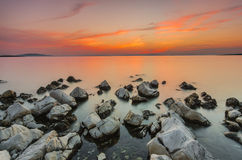 Sunset over the sea. Dalmatia, Croatia. Stock Photography