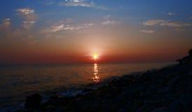 Sunset Over The Sea. Evening. Black sea seaside. Sunset Over The Sea with clouds. Evening on the seashore. Black sea seaside stock image