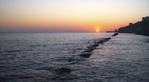 Sunset Over The Sea. Evening on the seashore. Black sea seaside. Summer Sunset Over The Sea. Evening on the seashore. Black sea seaside, Russian Federation stock photography