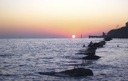 Sunset Over The Sea. Evening on the seashore. Black sea seaside. The Sundown Over The Sea. Evening on the seashore. Black sea seaside, Russian Federation royalty free stock images