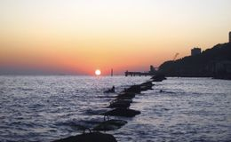 Sunset Over The Sea. Evening on the seashore. Black sea seaside. The Sunset Over The Sea. Evening on the seashore. Black sea seaside, Russian Federation stock photography