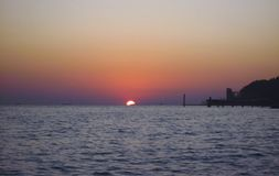 Sunset Over The Sea. Evening on the seashore. Black sea seaside. The Sunset Over The Sea. Evening on the seashore. Black sea seaside, Russian Federation royalty free stock photos