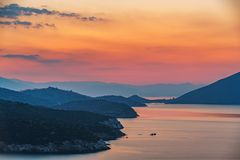 Sunset over sea in Greece stock photography