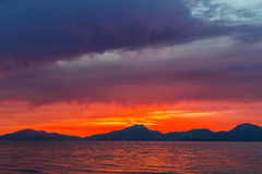 Sunset over sea in Greece. Colorful sunset over sea in Greece Royalty Free Stock Photos