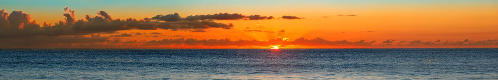 Sunset over the Sea, the Indian Ocean Seychelles Royalty Free Stock Photo