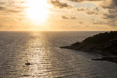 Sunset over sea at Laem Phrom Thep Stock Images