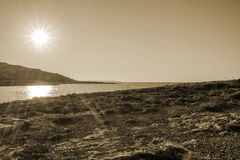 Sunset. Over the sea in Malta Sepia Stock Images