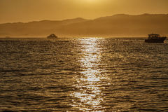 Sunset over the sea stock image