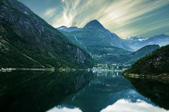 Sunset over sea and mountain, Norway fjords Stock Images