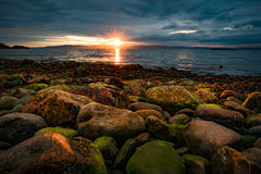 Sunset over the sea in Norway Stock Photo