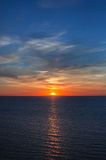 Sunset over the sea. Orange sunset over the sea Royalty Free Stock Photo