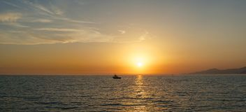 Sunset over the sea  Panorama Royalty Free Stock Image