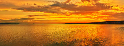 Sunset over the sea. Panorama Stock Photography