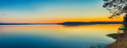 Sunset over the sea. Panorama Royalty Free Stock Photo
